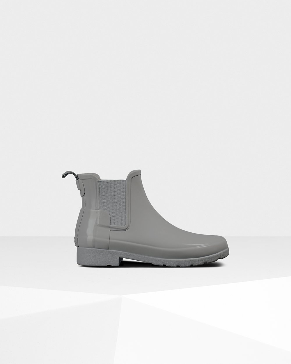 Womens Hunter Refined Gloss Slim Fit - Chelsea Boots Grey - 6029-YSNCE